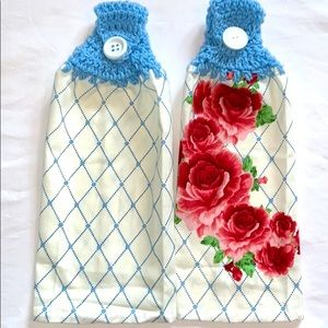 HP🔥Lot of 2 Crocheted Top Hanging Kitchen Towels